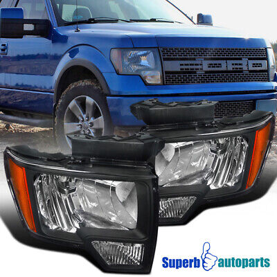 $105.98 • Buy For 2009-2014 Ford 09-14 F150 F-150 Headlights Lamps Black Pair Left+Right