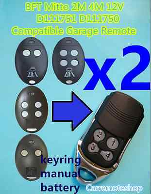 AU24.50 • Buy 2x BFT Mitto 2M 4M 12V D111751 D111750 Compatible Garage/Gate Remote