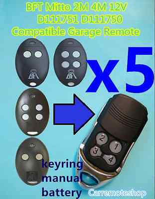 AU68 • Buy 5x BFT Mitto 2M 4M 12V D111751 D111750 Compatible Garage/Gate Remote