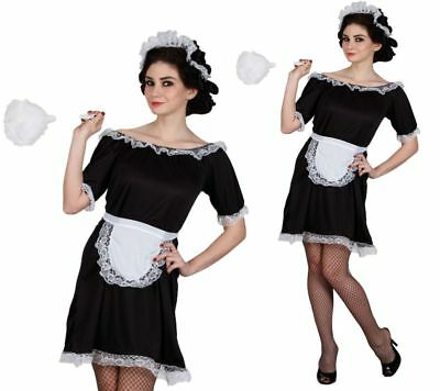 £9.99 • Buy French Maid Costume Black White Waitress Fancy Dress Outfit Sizes 6 To 24
