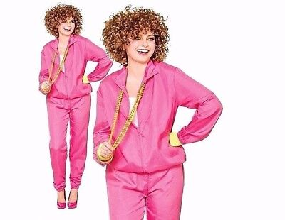 Ladies 80s SHELL SUIT Vicky Pollard Fancy Dress Costume Pink Adult Funny Outfit • 14.95£