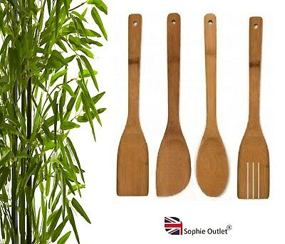 £2.60 • Buy 4 X BAMBOO SPOONS Wooden Spatula Spoon Kitchen Cooking Utensils Turner Tools Set