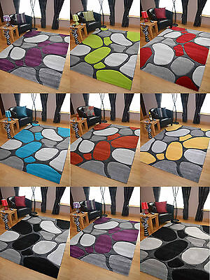 Pebbles Thick Quality Modern Carved Rugs Runner Small Extra Large Soft Mat Cheap • 49.99£