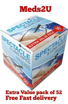 Spectacle Lens Wipes Extra Value Pack Of 52 Wipes Glasses Sunglasses Cleaner • 2.90£