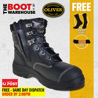 AU170.90 • Buy Oliver Work Boots 55345z, Zip Side,'Black' Steel Toe Cap Safety. UPGRADED STYLE!