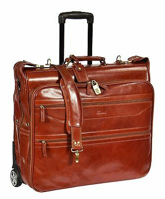 Exclusive LEATHER Suit Carrier Dress Garment Travel Weekend Bag On Wheels Cognac • 269.10£