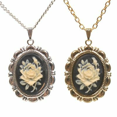 £6 • Buy Black Rose Cameo Vintage Style Charm Pendant Necklace New Victorian Gold/Silver