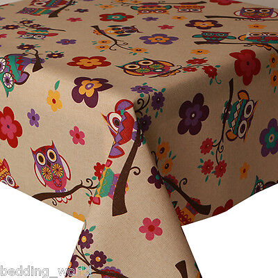 Acrylic Coated Table Cloth Owls Tree Branch Flowers Purple Red Beige Wipe Able • 19.99£
