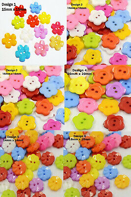£2.29 • Buy 50 Flower Shaped Mixed Colour Buttons Choose Design 14mm To 20mm  UK Seller