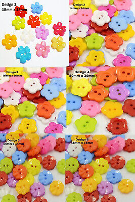 50 Flower Shaped Mixed Colour Buttons Choose Design 14mm To 20mm  UK Seller • 2.19£