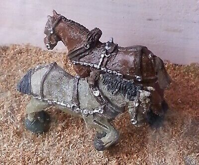 2 Shire Horses Harness F72 UNPAINTED OO Scale Langley Models Kit 1/76 Animals • 7.07£