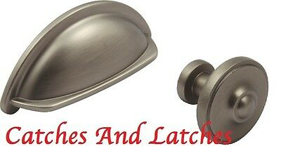 £2.99 • Buy Pewter Cup Or Knobs Handles For Kitchen Cabinet Doors Cupboard Drawers