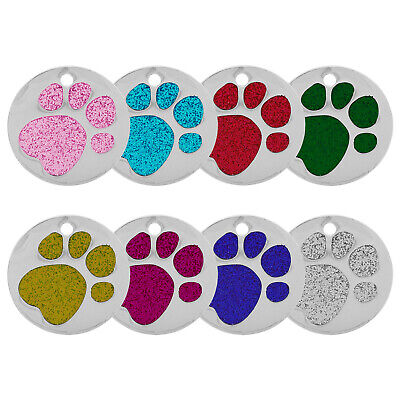 Round Glitter Paw Engraved Dog Id Name Tag Disc Personalized Pet Cat Identity • 2.99£