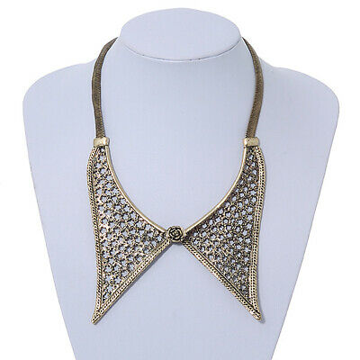 Antique Gold Effect Tailored Collar Necklace On Flat Snake Chain - 42cm Length/5 • 20.70£