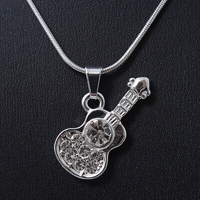 $ CDN11.95 • Buy Small Diamante 'Guitar' Pendant With Silver Tone Snake Style Chain - 42cm