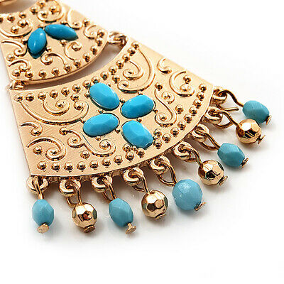 £18 • Buy Gold Plated Hammered Turquoise Coloured Acrylic Bead Chandelier Earrings - 8cm