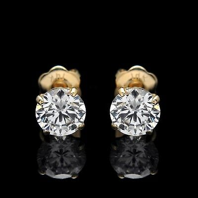 9bc83a948 2.00ct Round Cut Created Diamond Earrings 14k Solid Yellow Gold Studs  Screw-back •