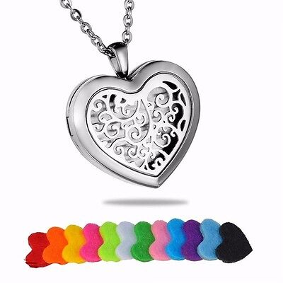 AU13.58 • Buy 24'' Stainless Aromatherapy Essential Oil Diffuser Heart Locket Pendant Necklace