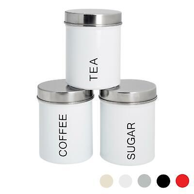 3x Tea Coffee Sugar Canisters Storage Set Kitchen Jars Containers Metal White • 12.99£