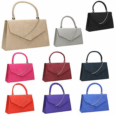 £9.50 • Buy Women Kendall Suede Velvet Leather Envelope Ladies Evening Party Prom Clutch Bag