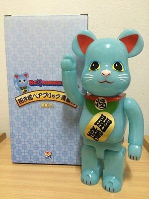 $340.88 • Buy Skytree Neko MANEKINEKO Lucky Cat Blue GID Dark Grow 400% Bearbrick Be@rbrick