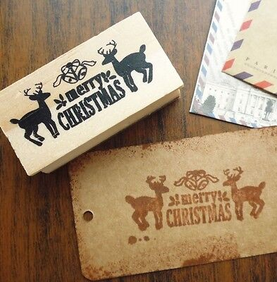 £4.30 • Buy Merry Christmas Wooden Reindeer Rubber Stamp Craft Christmas Tags Gifts