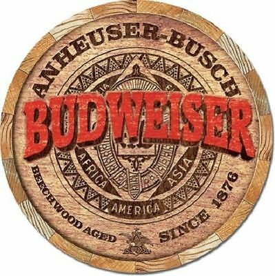 $ CDN17.16 • Buy Budweiser Barrel End Round TIN SIGN Metal Beer Ad Vtg Rustic Bar Wall Decor 2165