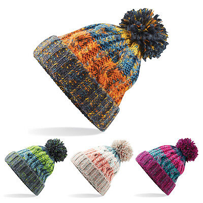 £8.49 • Buy New Cable Knitted Bobble Hat Plain Mens Womens Beanie Warm Winter Pom Wooly Cap
