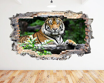Wall Stickers Tiger Jungle Wild Animal Smashed Decal 3D Art Vinyl Room N433 • 22.99£