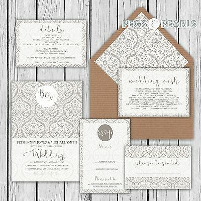 Personalised Luxury Rustic Wedding Invitations Grey Damask Lace Packs Of 10 • 2.76£