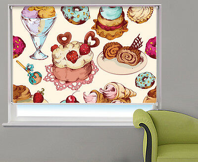 Cakes & Ice Cream Design Food Kitchen Pattern Picture Photo Window Roller Blind • 109.98£