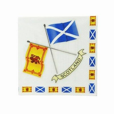 £4.75 • Buy New Party Burns Night Paper Scottish Flags Napkins Serviettes (Pack Of 20)