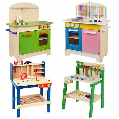 Kids Wooden Work Tool Bench Kitchen Set Pretend Play Toys Cooking Chef Gift Xmas • 38.99£