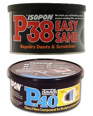 P38 P40 Fiber Glass Filler Isopon Paste Kits Easy Sand Car Boat Caravan Repairs • 11.50£
