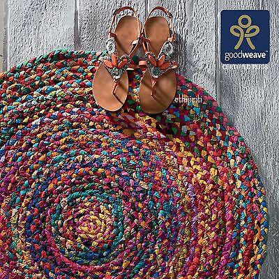 £26.99 • Buy ⭐Round Multicolour Green Yellow Chindi Recycled Cotton Rag Rug Shabby Fair Trade
