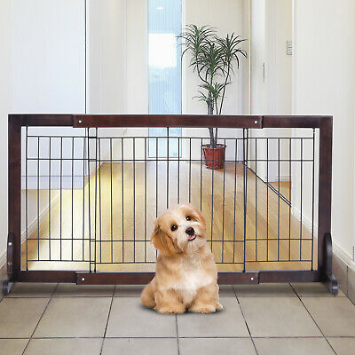 PawHut Free Standing Adjustable Pet Gate Fence Dog Secure Indoor Wood • 30.99£