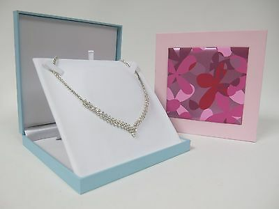 $11.96 • Buy Necklace Box Pearl Jewellery Case - Floral Panel - Pastel Pink Or Blue