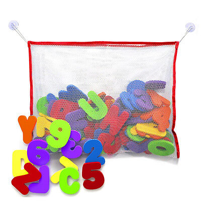 Bath Toy Foam Letters And Numbers With Toy Storage Net Organizer Kids Baby Gift • 8.99£