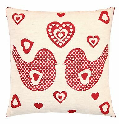 Love Birds Jacquard Woven Cushion Cover Sofa, 45 X 45cm (Cushion Included) • 4.99£