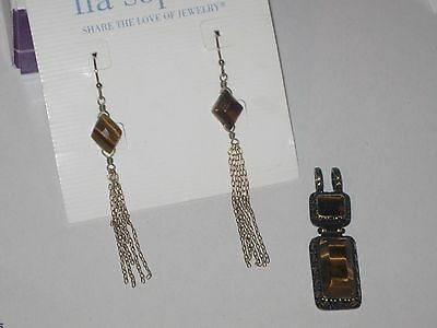 $ CDN12.54 • Buy Lot Of 2: Roca Slide & Tiger Tail Earrings - Tiger's Eye -rv $70 Pretty & *rare