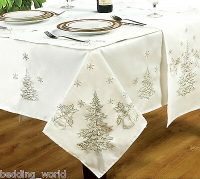 Festive White Silver Table Cloths Embroidered Fir Tree Bells Snow Christmas Xmas • 23.99£