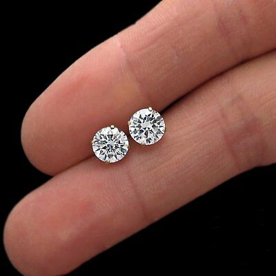 $39.99 • Buy 2 CT Round Created Diamond Earrings 14K Solid Yellow Gold Solitaire Basket Studs