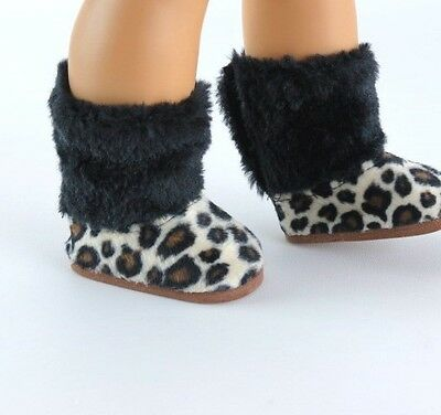 Leopard Print Furry Boots Fits 18  American Girl Doll Clothes Shoes • 5.56£