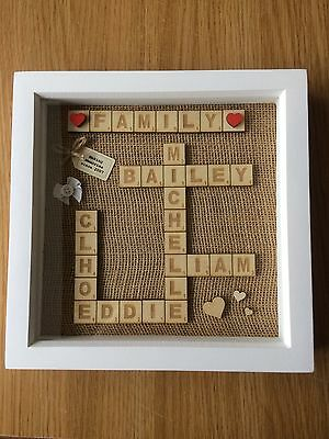 Personalised Scrabble Picture Frame/Wedding/Family/Engagement/New Baby/Home Gift • 16.99£