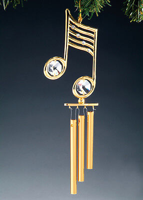 £9.49 • Buy Music Note FIGURINE - ORNAMENT WIND CHME 24KT GOLD PLATED WITH AUSTRIAN CRYSTALS