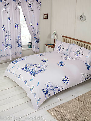 Nautical Blue White Ship Boat Anchor Lighthouse Compass Rope Bedding Or Curtains • 11.99£