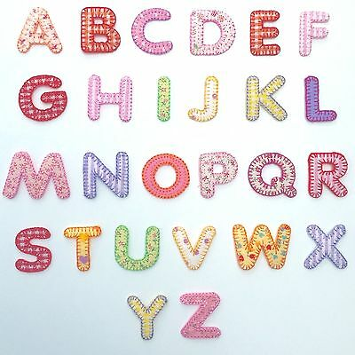 £0.99 • Buy Girls Alphabet Letters Embroidered Motif Fabric Iron On Patch Badge
