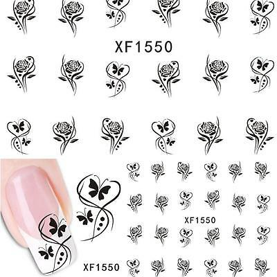 Nail Art Water Decals Transfers Butterfly Flowers Rose UV Tips Decoration XF1550 • 1.80£