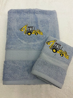 Personalised Digger Towel Set Birthday Gift Present Hand Towel And Face Cloth • 14£