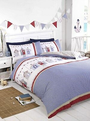 Beach Huts Nautical Bedding Duvet Quilt Cover Set Single Double King  • 11.65£